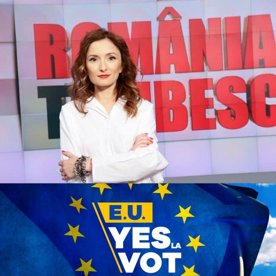 Paula Herlo promovând campania Yes la vot