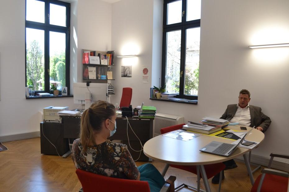 Alexandra Tănăsescu în dialog cu Joachim Umlauf/ foto: Maria Tudosescu